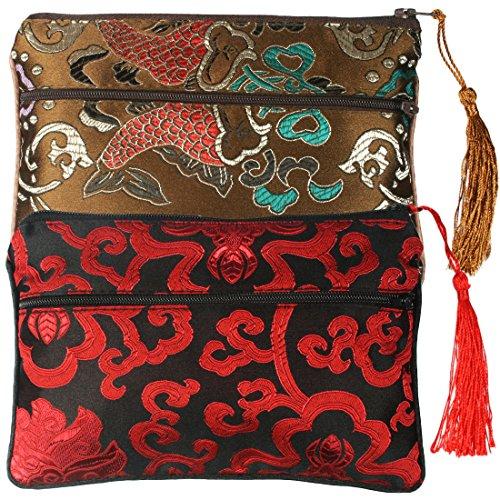 kilofly Chinese Silk Brocade 2 Zipper Pockets Tassel Jewelry Pouch Bag, Set of 2