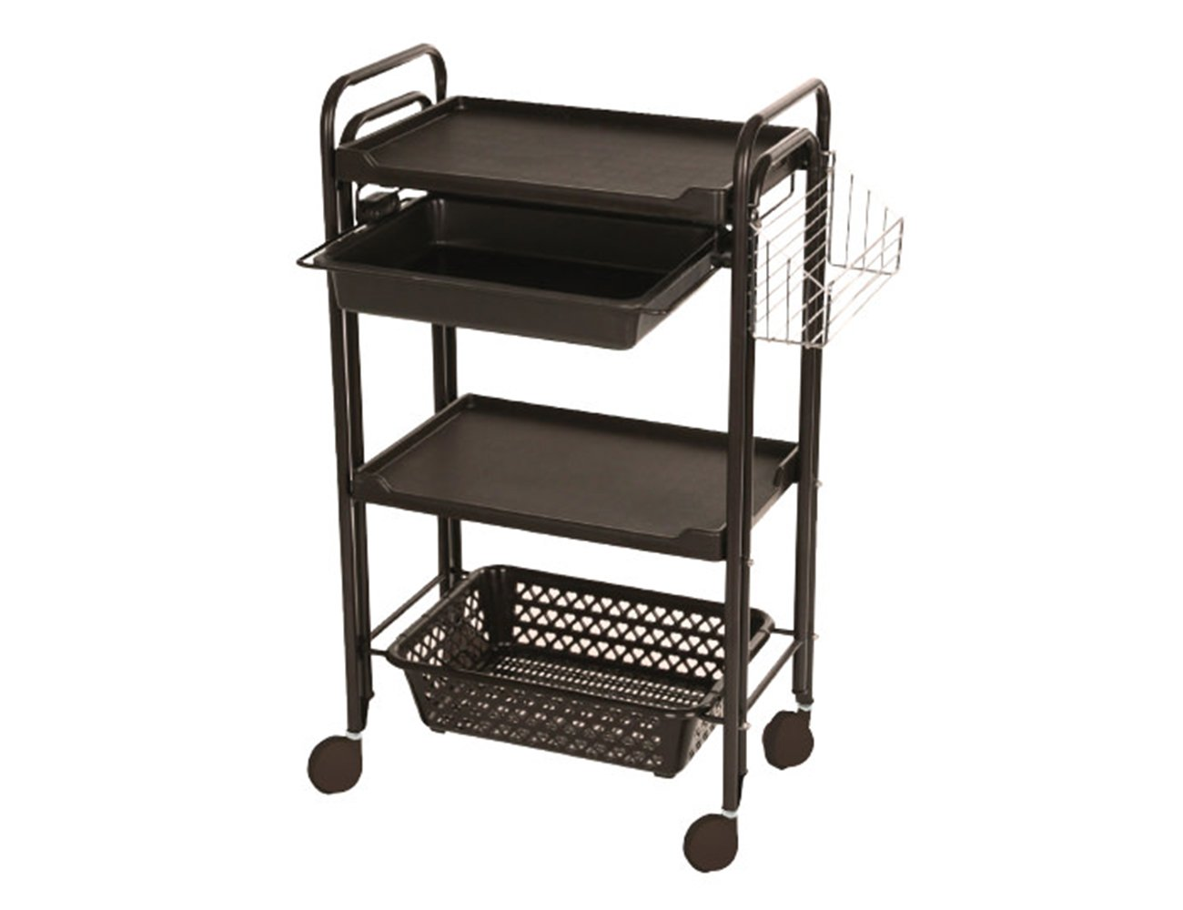Beauty Salon Plastic Rolling Trolley Storage Organizer Cart 3 Tier With Drawer Two Color Optional Elitzia ETST21 (Brown)
