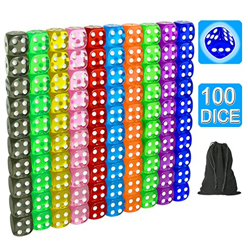 SUNMON 100 Pcs Multi-Color Dice Set - 10 Assorted Transparent Color with 10 Pcs Each, 16mm D6 Standard Dice with Extra Carrying Bag, Perfect for Board & Dice Games and Other Casino Games