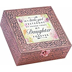 Girl Friend Daughter Forever Stamped Copper 6 x 6 Metal Finish Music Box Plays You are My Sunshine