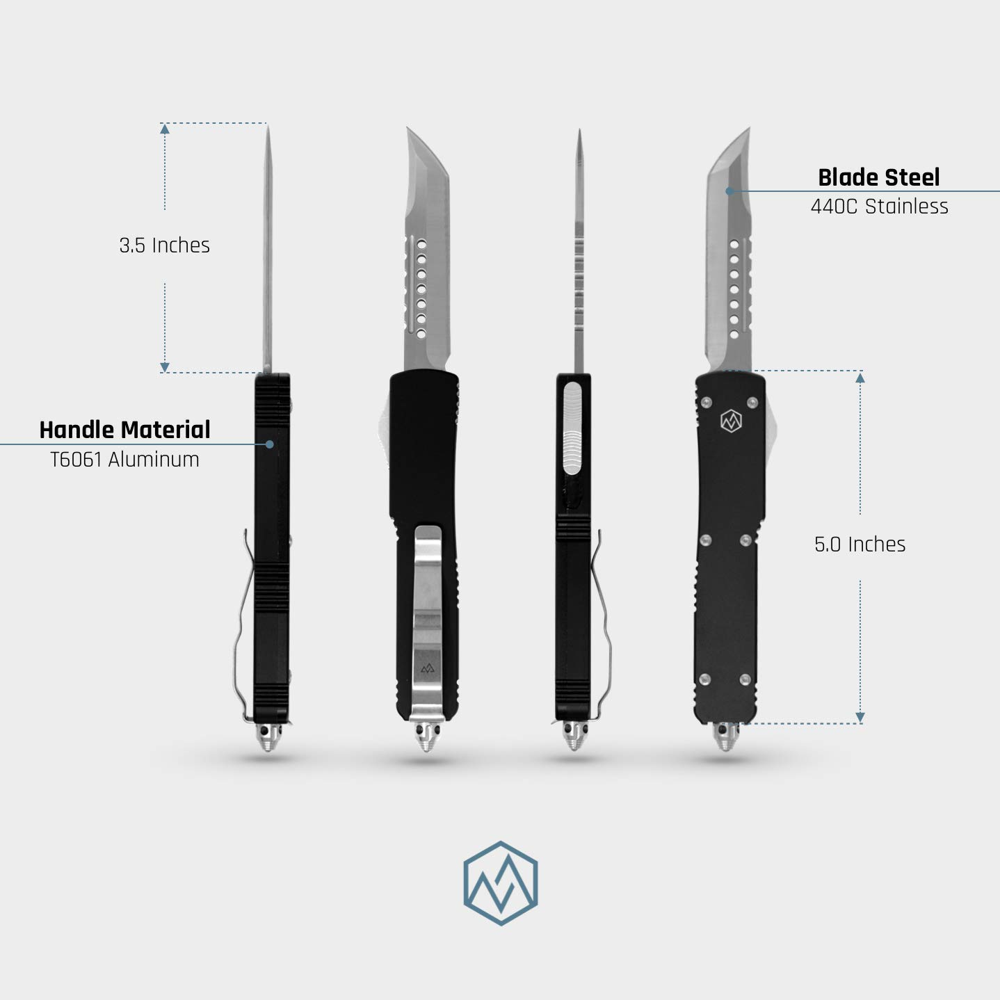 OTF Double Action Safety Knife (Matte Black & Satin Tanto Blade) by OTF (Image #3)