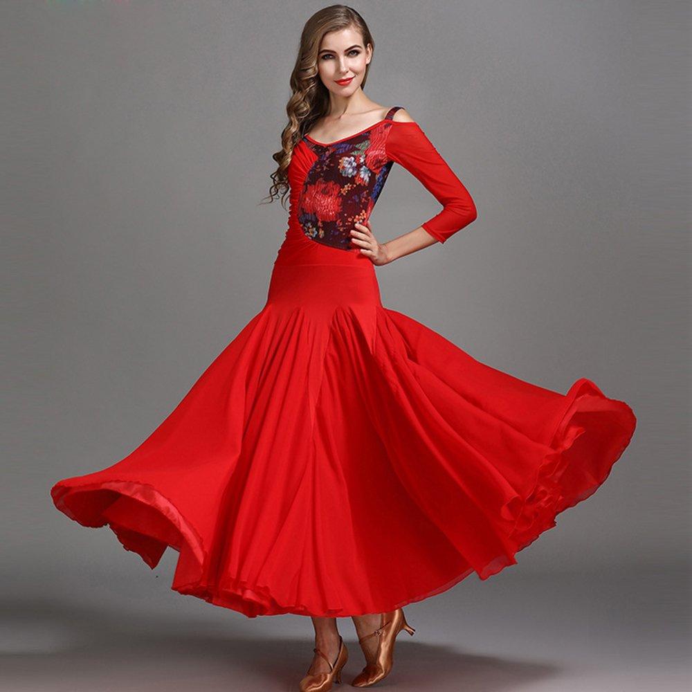 現代の女性の大きな振り子 Gsnow 紡績モダンダンスドレスタンゴとワルツダンスドレスダンスコンペティションスカートミドルスリーブレース観賞彫刻増加ドレスダンスコスチューム B07HHX4XP4 Medium|Red Red Medium