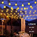 Binval Solar String Lights for Outdoor Patio Lawn Landscape Garden Home Wedding Holiday decorations[19.7feet - 6m - 30LED 2-pack]