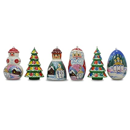 2 25 Set Of 6 Santa Christmas Tree Church Snowman Wooden Russian