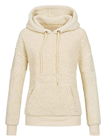 Suncolor8 Women Fuzzy Winter Soft Sherpa Pullover Hoodie Hooded Sweatshirts  Coat Outerwear Apricot XS aa8821d39