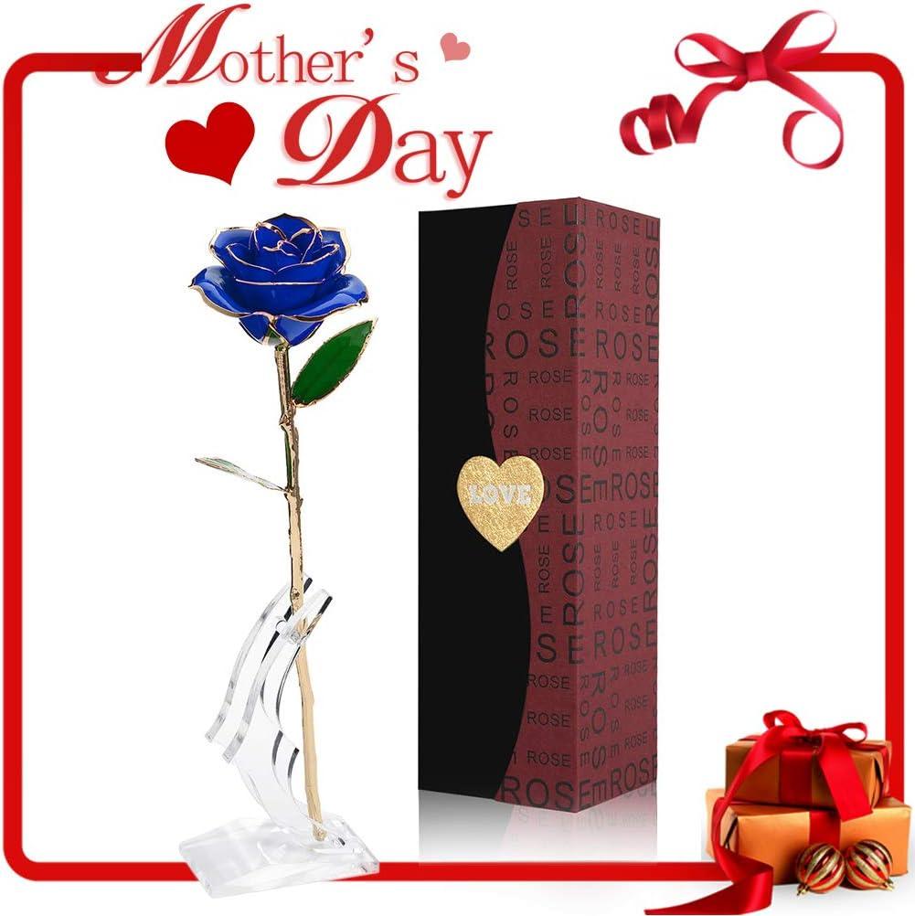 Rosa de 24k, Flor Artificial de 24k lámina de oro, Rosa Eterno de Oro con soporte transparente y caja de regalo, Regalo del día de San Valentín, Día de la Madre, Aniversario, Cumpleaños, Navidad