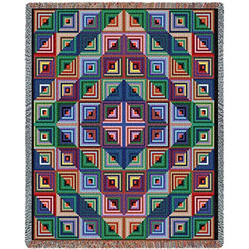 """Pure Country Weavers """"Log Cabin Quilt Blanket"""" Tapestry T..."""