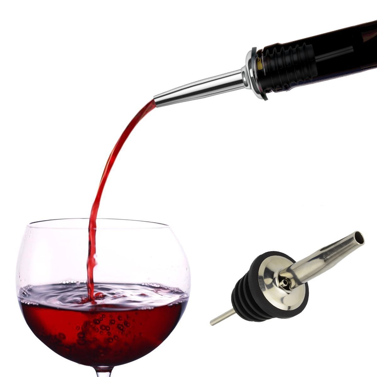 Liquor Pour Stainless Steel Classic Bottle Speed Pourers with Tapered Spout (12- pack)