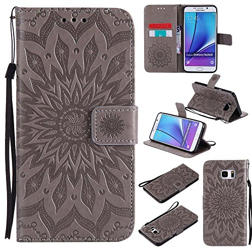 Galaxy Note 5 Case, Dfly-US Premium Soft PU Leather Embossed Mandala Design with Kickstand Function Card Slot Holder Slim Flip Protective Wallet Cover for Samsung Galaxy Note 5, (Wallet Note Cards)