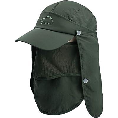 TAGVO Sombrero de Sol con Cubierta de Cuello Desmontable, Protección UPF 50+ Sombreros y Gorras de Pescador Transpirables, Plegable Secado Rápido Sombreros de Acampada y Marcha para Hombres Mujeres