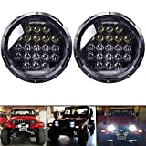 headlights for jeep - COWONE 7 Inch Round 5D 2018 Newest Design 130w Philip Daymaker LED Projector Headlight with DRL for Jeep Wrangler JK TJ LJ CJ Harley Davidson Motorcycle