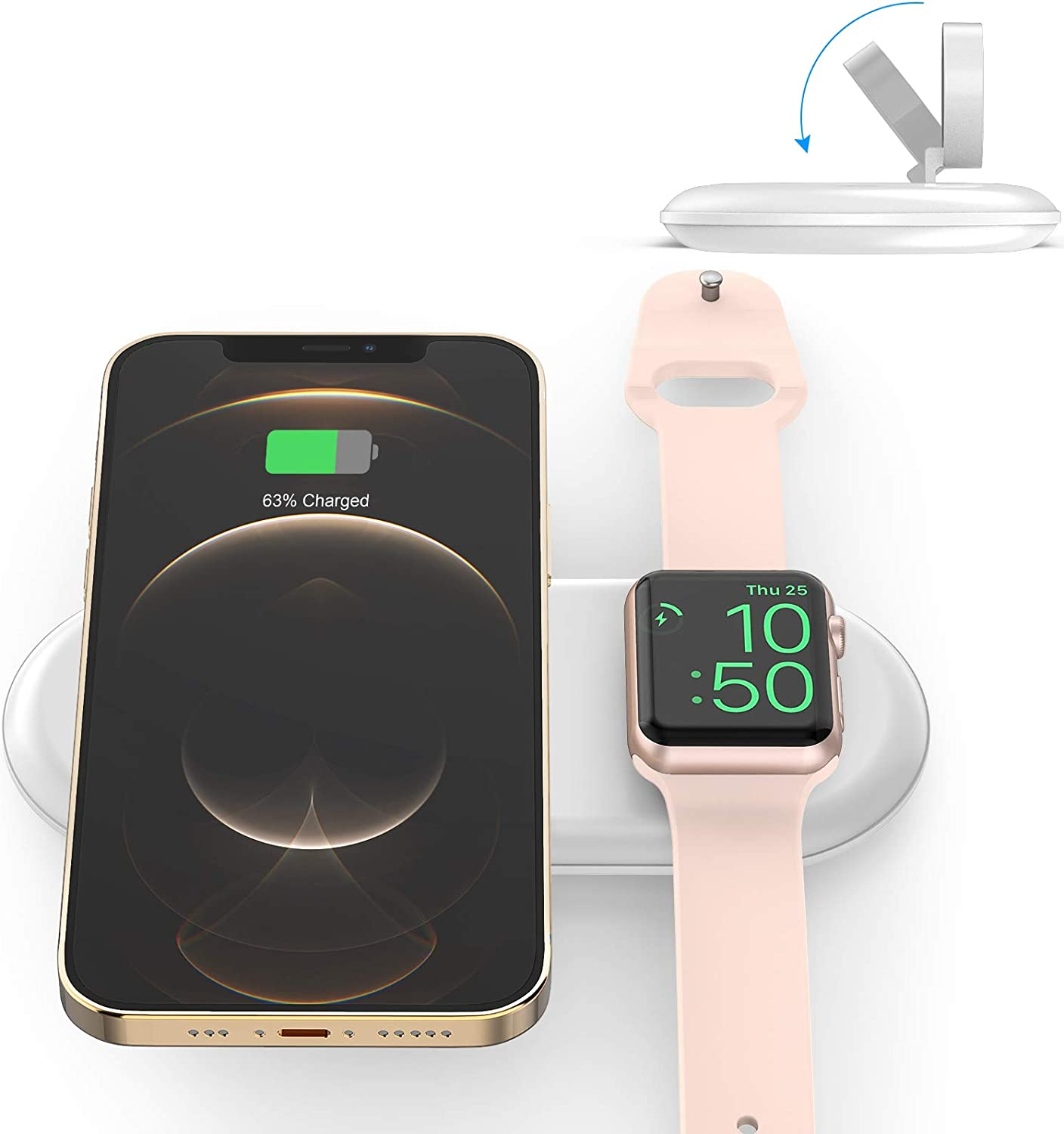 i.VALUX Wireless Charging Station Dock,2 in 1 Dual Wireless Charger Pad Compatible Apple Watch Series 6 5 4 3 2 1 SE Nike 44 40 42 38mm, 10W Fast Qi Portable Travel Charger for AirPods iPhone Samsung