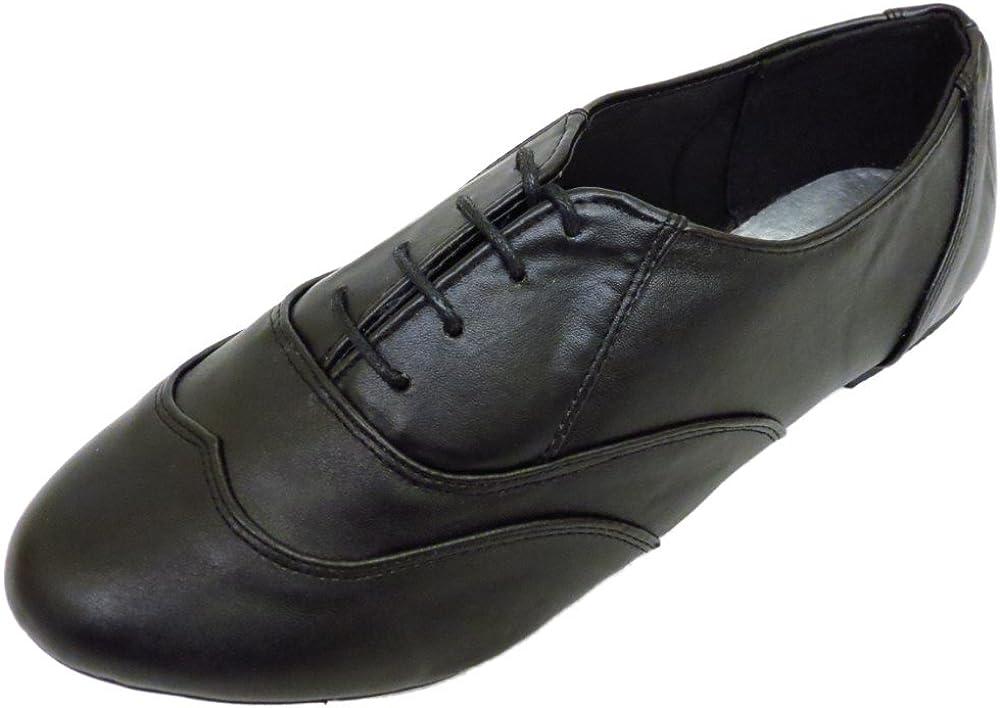 Ladies Flat Wide-Fit Black Oxford