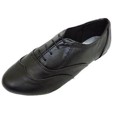 28979c23e309c Ladies Flat Wide-Fit Black Oxford Brogue Lace-Up Pumps Womens Shoes Sizes 5
