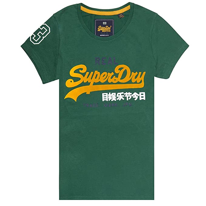8f8db046e9eeb7 Superdry Womens Vintage Logo Tri Colour Entry Tee in Pine Green (X-Small)