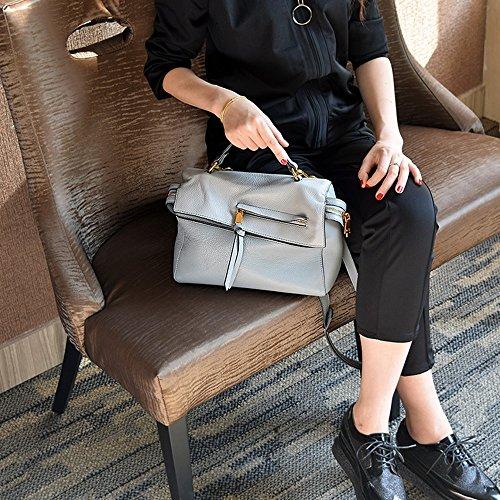 Kleine quadratische Tasche wilde Handtasche beiläufige Abnutzungsfarbe Kissenbeutel weiche Schulterbeutel ( Farbe : Braun ) Blau