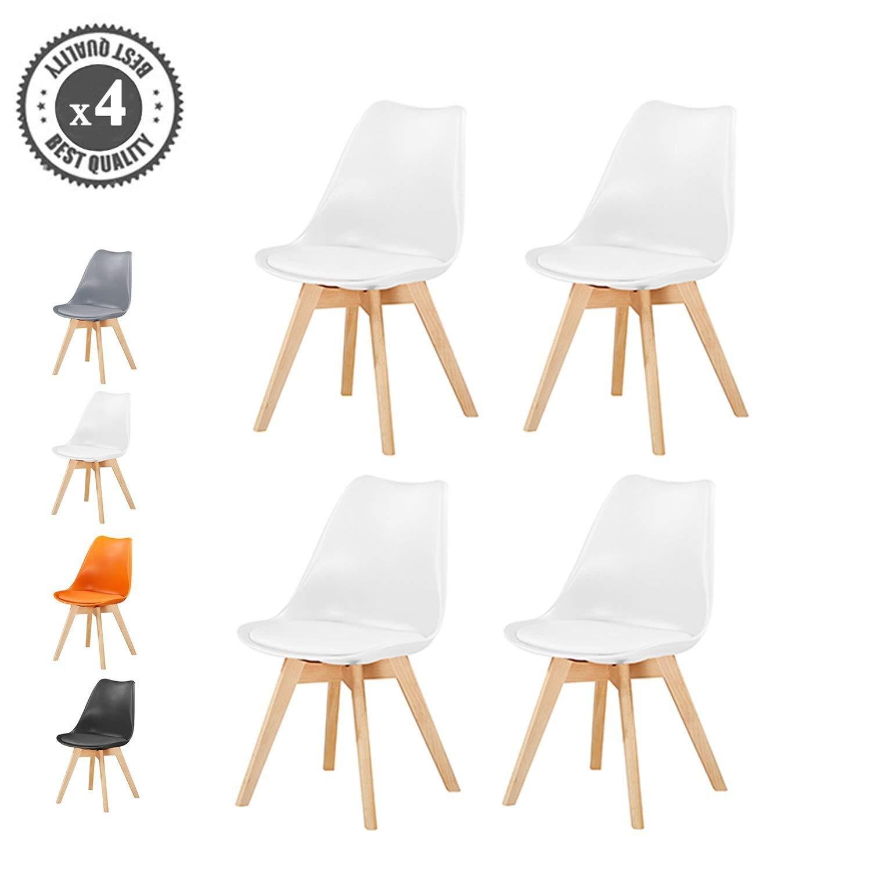 Juego de 4 sillas deluxe de MCC, con patas de madera y cojín blando, diseño retro, elegantes, para comedor y oficina, de goma EVA