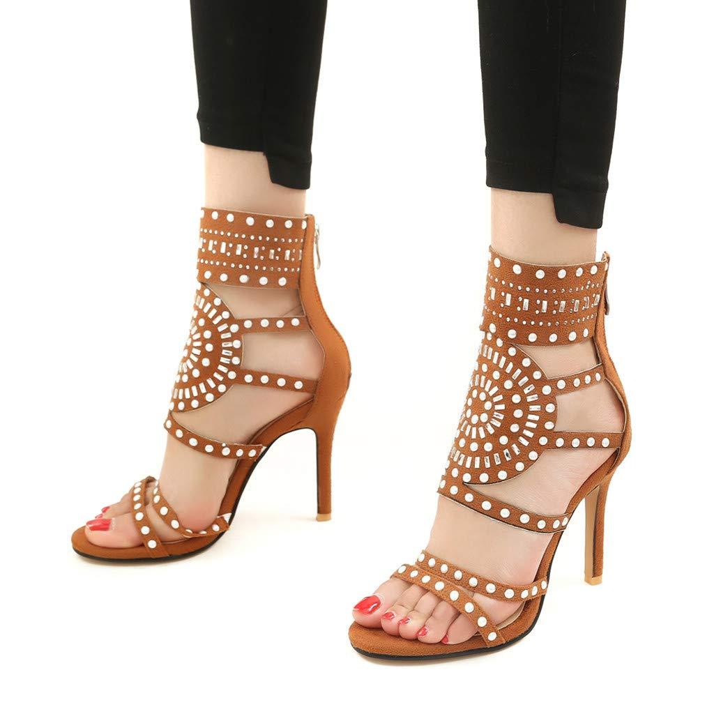 Orangeskycn Women High Heel Sandals Plus Size Fashion Rivet Back Zipper High Heel Open Toe Ankle Beach Shoes Sandals Brown by Orangeskycn Women Sandals (Image #4)