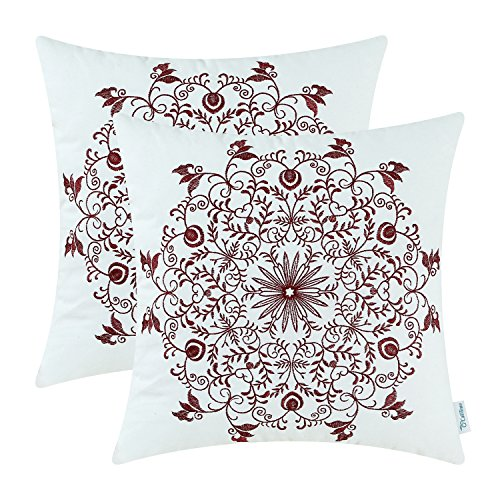 [Pack 2, CaliTime Cotton Throw Pillow Covers, Vintage Snowflake Floral Embroidered, 18 X 18 Inches, Burgundy] (2 Snowflake)