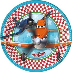 Procos - Platos de cartón para fiestas y cumpleaños infantiles (8 unidades), diseño de Aviones de Disney Pixar