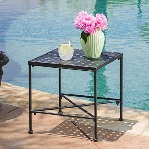 Cheap  Christopher Knight Home 296745 Petra Iron End Table, Black Brush Silver