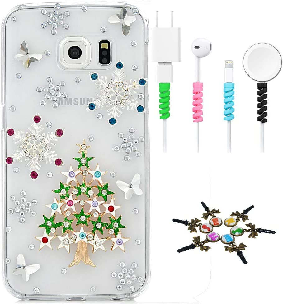 STENES Sparkle Case Compatible with Samsung Galaxy Note 4 - Stylish - 3D Handmade Christmas Stars Tree Snow Butterfly Cover Case with Cable Protector [4 Pack] - Green