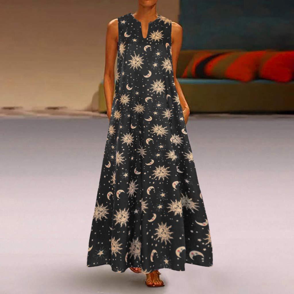 Fuibo Damen Sommerkleider V-Ausschnitt Maxikleid Gro/ße Gr/ö/ßen Boho Langarm Strandkleider Sun Stars Moon Print /ärmellose Vintage Kleider Partykleider