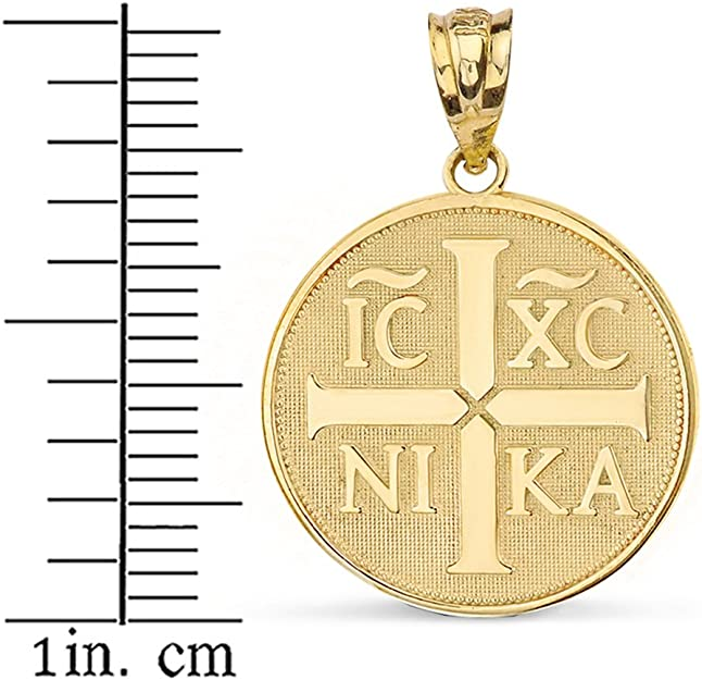 Sterling Silver Christogram Symbol IC XC NIKA Jesus Christ Conquers Medallion Necklace