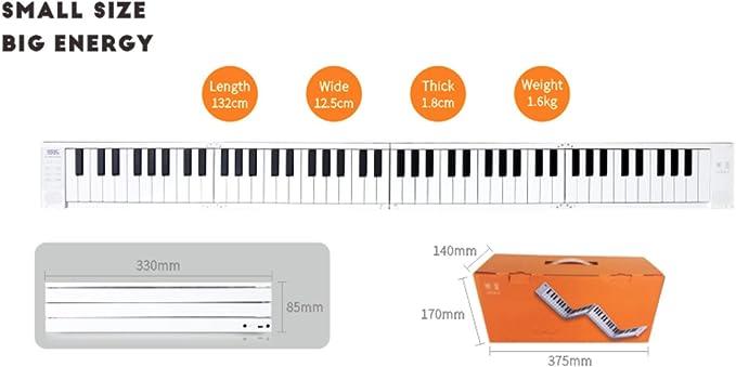 Piano eléctrico plegable portátil de 88 teclas