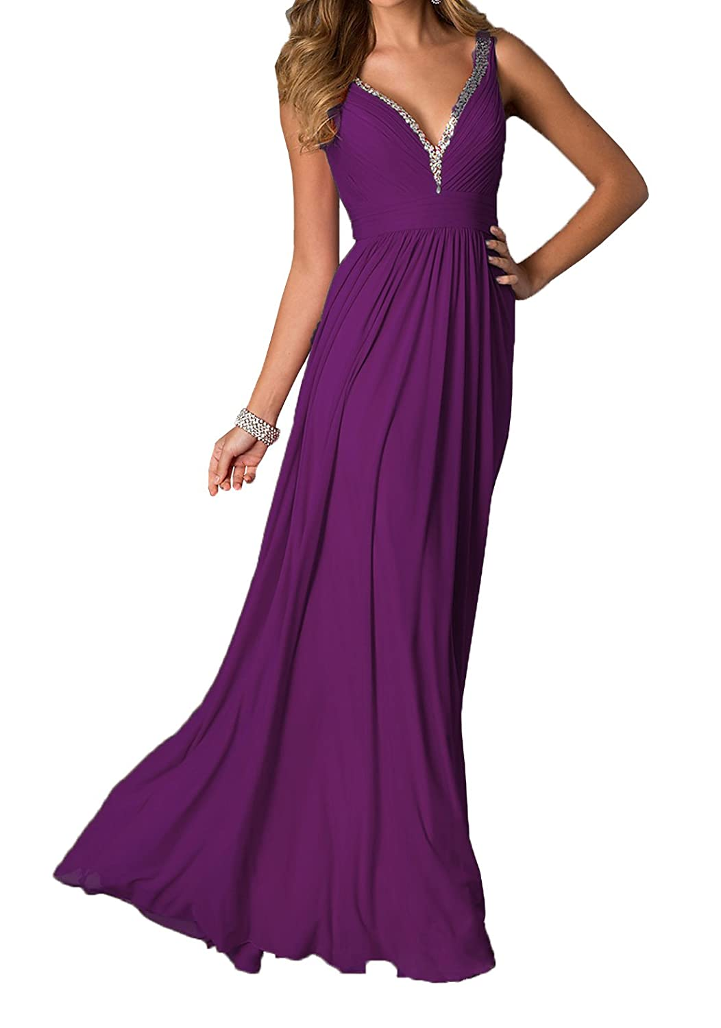 NOVIA Gorgeous A-line V-neck Long Chiffon Prom Dresses Evening Dresses at Amazon Womens Clothing store: