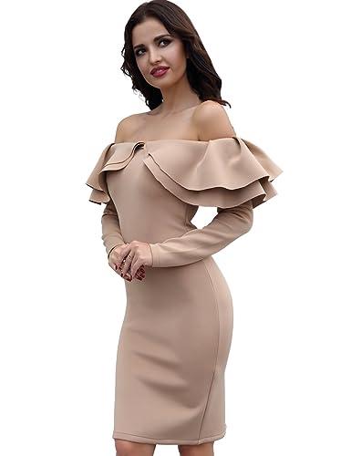 Adyce Vestito Donna-Sexy-Bandage-Dress bianco per donne eleganti fiori senza spalline chic design a ...