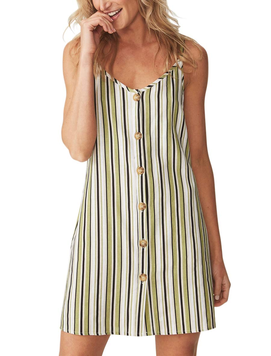 Blooming Jelly Women's Striped V Neck Dress Strappy Button Loose Summer Mini Dress Green