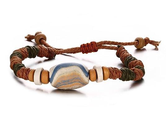 aruie Bijoux pulsera perla porcelana barro cuerda trenzado ajustable cadena de mano Hecho a mano étnico regalo Hombre Mujer