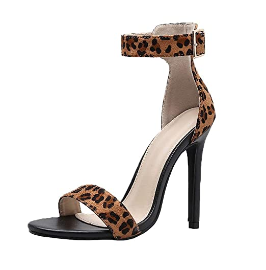 7b2a024045c5 Women Leopard Ankle Strap Block Heel Stiletto Heel Party Dress Pump Shoes  JHKUNO Black