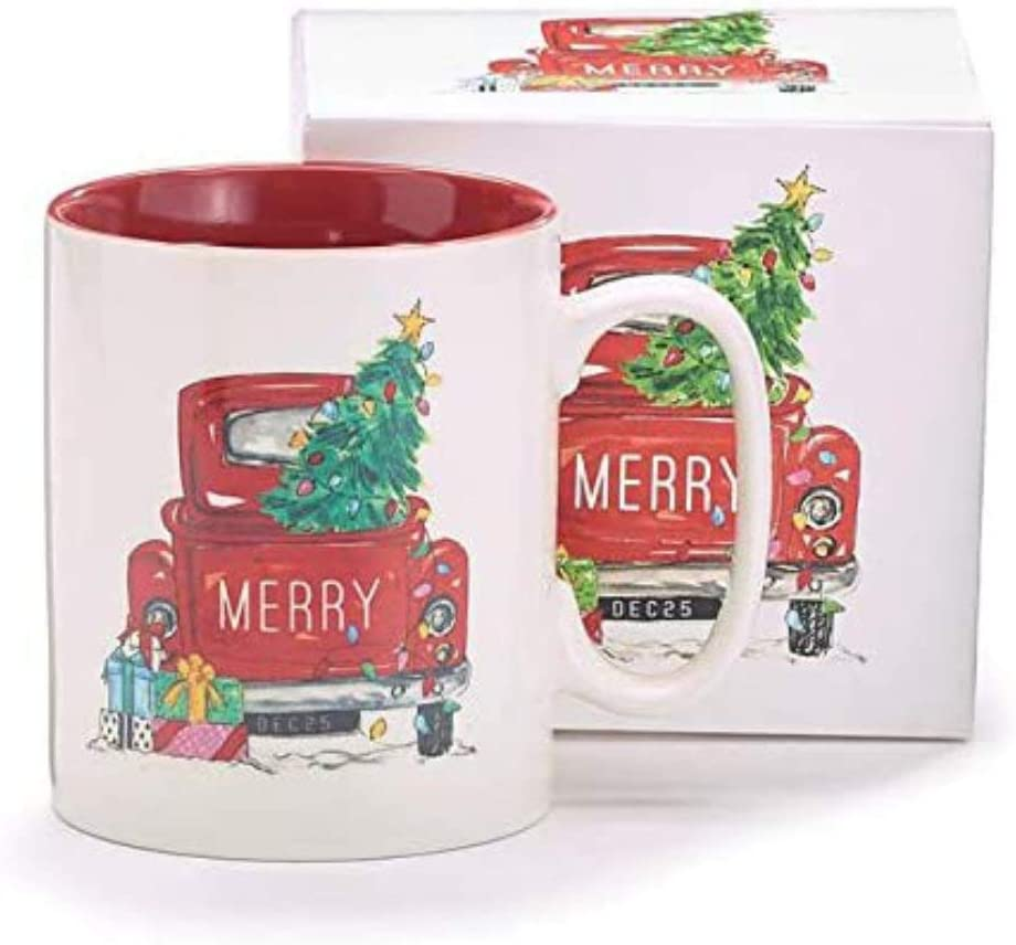 Ceramic Christmas Coffee Cup with Vintage Red Truck and Christmas Tree – Decorative Holiday Hot Cocoa Mug