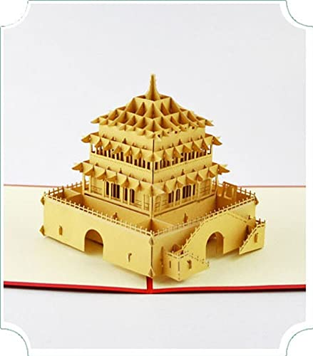 bc worldwide ltd handmade 3d pop up birthday popup greeting card xian bell tower wedding anniversary christmas new year eve party invitation valentines day