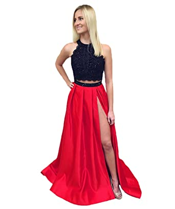 Graceprom Womens Two Pieces Prom Dress Off Shoulder Red Evening Party Dress 2