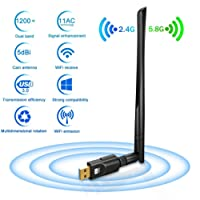 Dongle Wifi Clé Wifi Adaptateur USB 3.0 Wifi 1200Mbps - Deepow Adaptateur USB Wifi 5dBi Antenne Double Bande (2.4G/300Mbps+5G/867Mbps) 802.11n/g/b/a/ac avec WPS Secure Tech Pour Windows 10/8.1/8/7/XP/Vista MAC OS