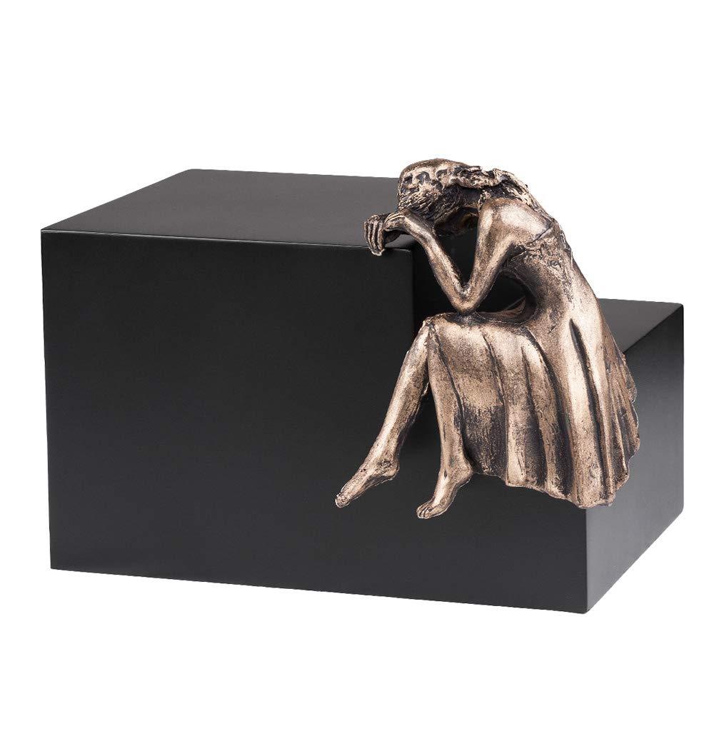 Silver Plated Unique Artistic Cremation Urn for Ashes Adult Funeral Urn Casket Nostalgia Art13S Black