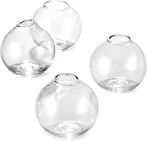 Serene Spaces Living Set of 4 Clear Ball Glass Bud Vase, Short Vases for Centerpieces for Home Decor, Events, Weddings, Measures 3