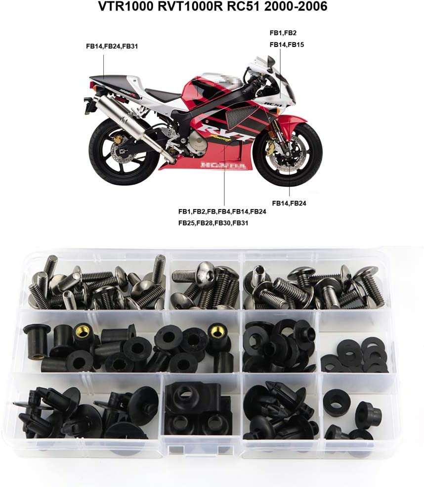 Xitomer Complete Bodywork Screws Titanium for Honda VTR1000 RVT1000 RC51 2000 2001 2002 2003 2004 2005 2006 Full Set Fairing Bolts//Washers//Nuts//Clips//Grommets
