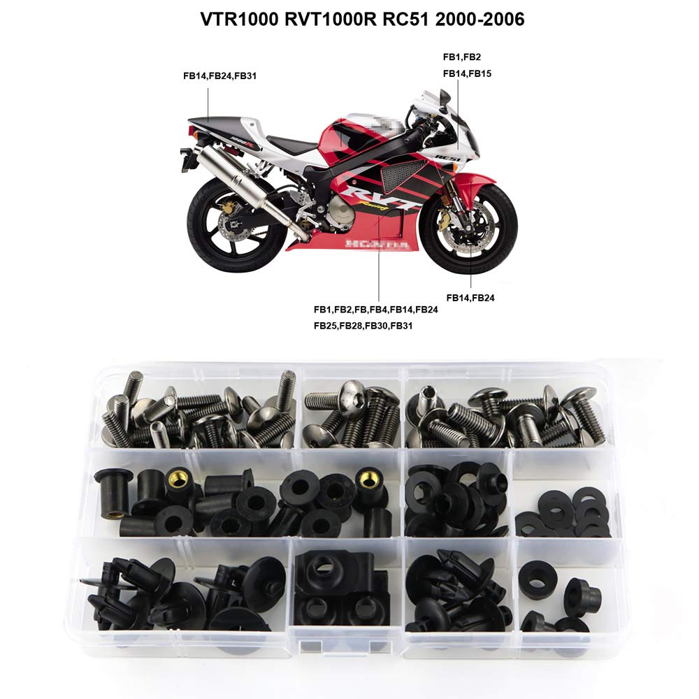Full Set Bodywork Screws//Fastenings//Mounting Kits for Honda VTR1000 RVT1000 RC51 2000-2006 Xitomer Complete Fairing Bolts Silver