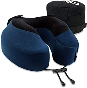 Cabeau Evolution S3 Travel Pillow, Memory Foam Airplane Neck Pillow for Travel, Breathable & Machine Washable Soft Cover, 360-Degree Neck & Chin Support, Navy Blue