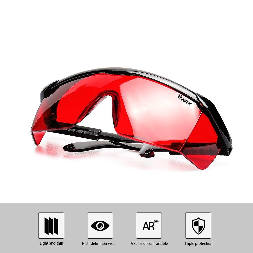 Huepar GL01R Lunettes Laser Rouge, Longueur de Bras Réglable de 9-11,4 cm,  Utilisation pour Outils Laser Niveau Laser Rouge  Amazon.fr  Bricolage 6cb3d80e94fd