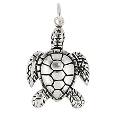 9e02b9c1a2bbc Amazon.com: 925 Sterling Silver Sea Turtle Charm: Jewelry