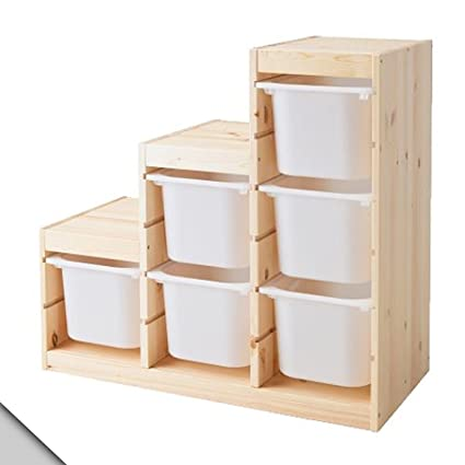 Amazon.com: IKEA - TROFAST Storage combination (A3), pine, white ...