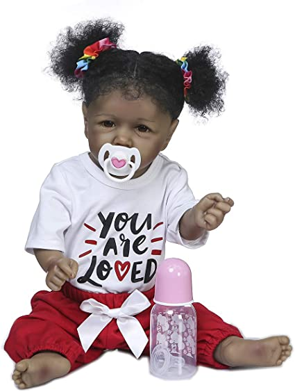 New Realistic Full Body Vinyl Doll Newborn Doll Pretend Play African Girl