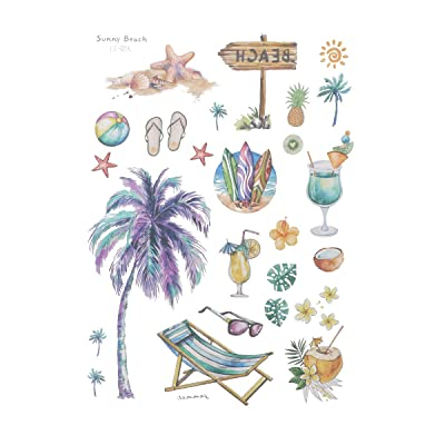 Amosfun Beach Hawaiian Luau Temporary Tattoos for Kids and Adults Tropical Tattoos Party Decoration Supplies Kids Birthday Party Favors (Sunny Beach) 5 Sheets/Pack : Baby