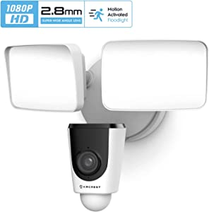 Amcrest SmartHome 1080p WiFi Outdoor Security Camera with Floodlight, Built-in Siren Alarm, 2000lm Floodlight, Two-Way Audio, 114° View, IP65 Weatherproof, MicroSD & Smart Cloud Storage, ASH26-W