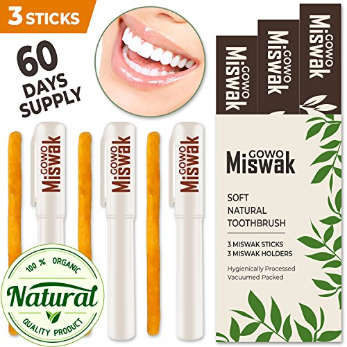 GOWO Miswak Sticks (3 Pack) 100% Natural Teeth Whitening Kit • Natural Toothbrush • No Toothpaste Needed • Chemical Free Teeth Whitener and Breath Freshener • Blessed Happy Ramadan Mubarak
